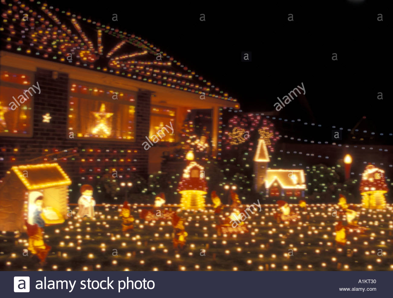 Christmas Lights On Houses.Christmas Lights On Houses In Lowestoft Norfolk Uk Stock