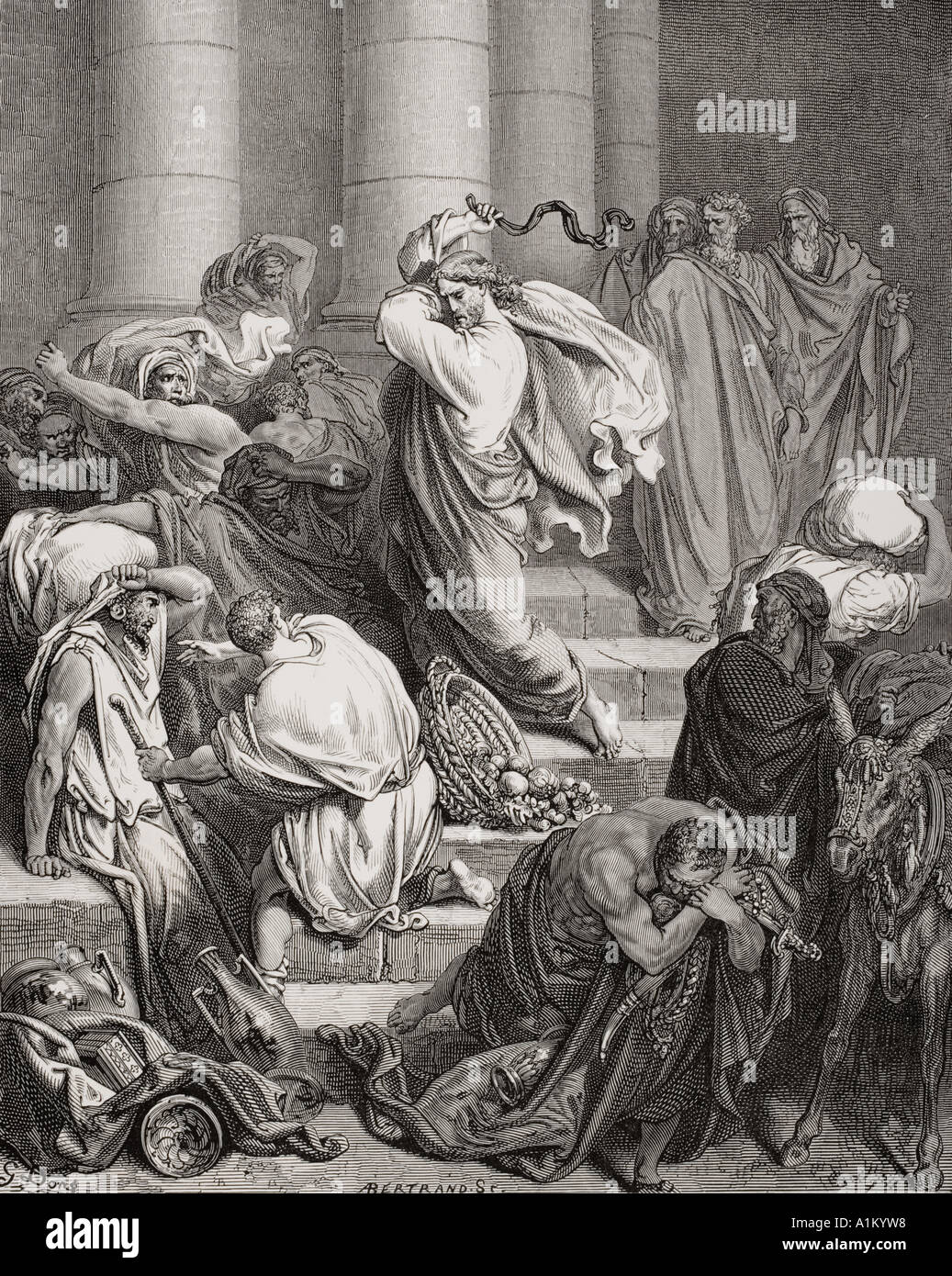 Engraving from The Dore Bible illustrating Luke xix 45 and 46 The Buyers and Sellers Driven Out of the Temple by Gustave Dore - Stock Image