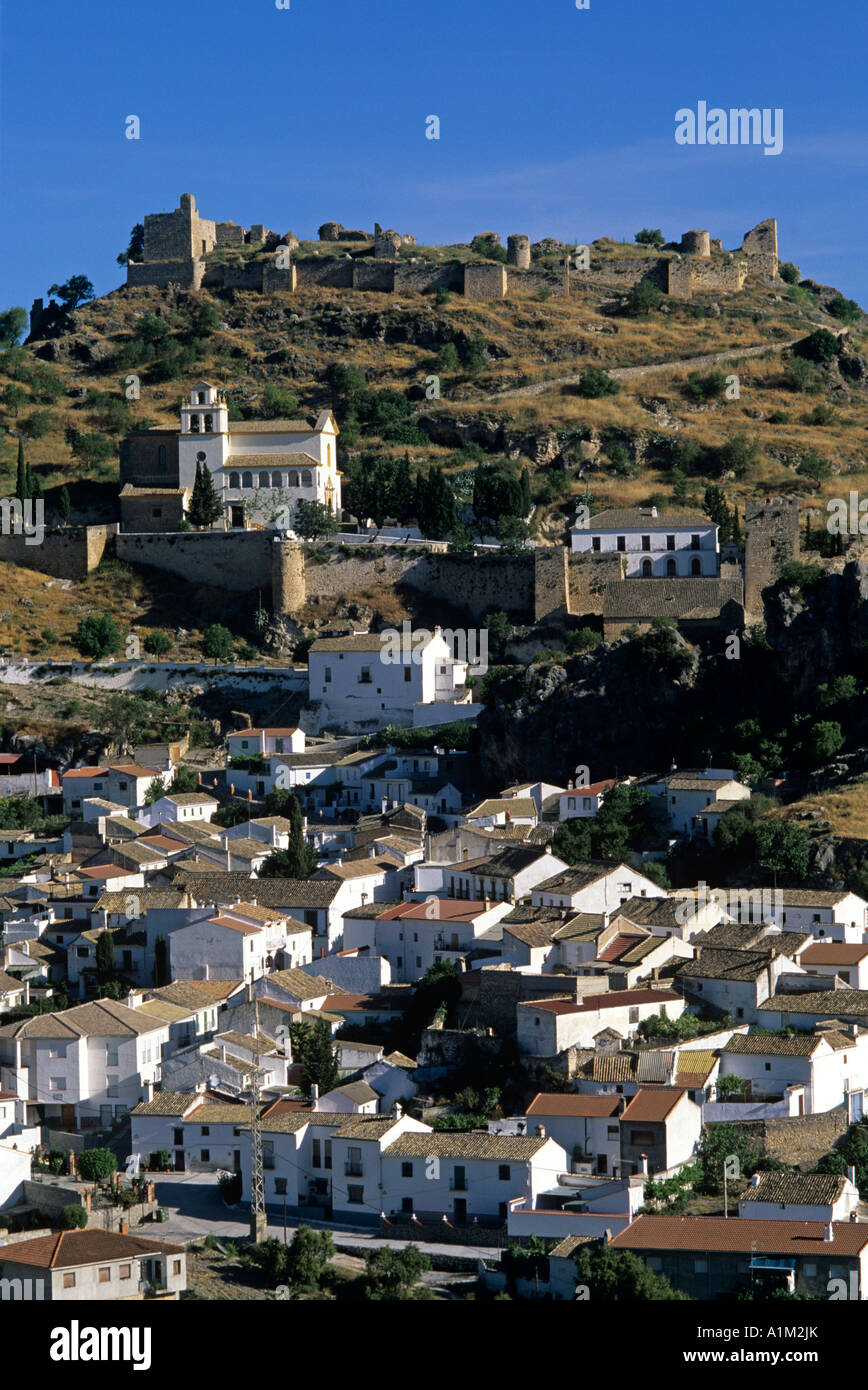 Spain. Granada Province. The historical town of Moclin on the Caliphate Route. Three layers of defensive walls visible. Stock Photo