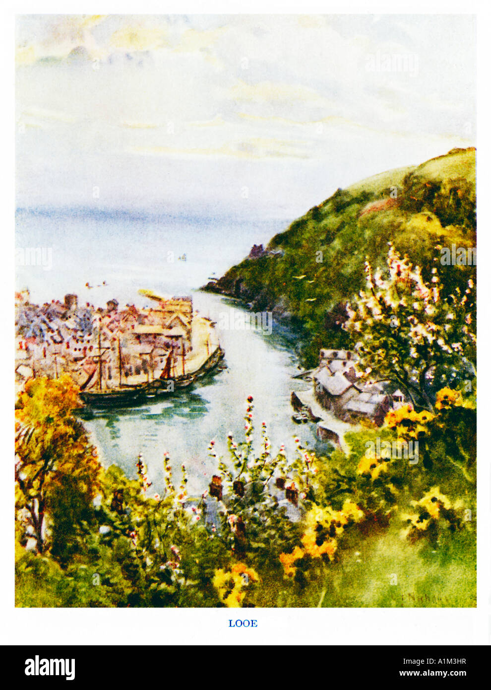 Looe Edwardian watercolour of the South Cornish estuary and port - Stock Image