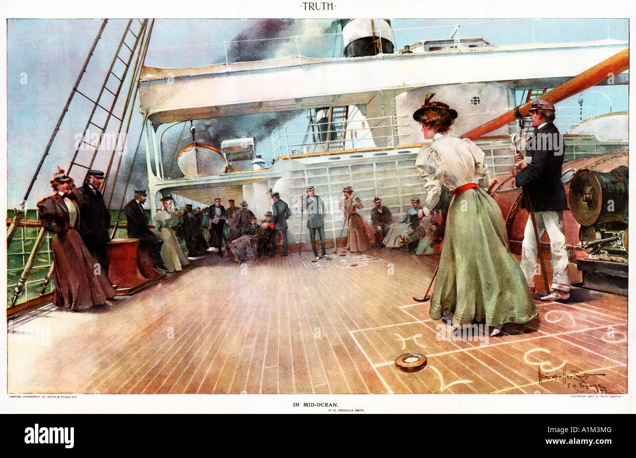 In Mid Ocean passengers on a Trans Atlantic voyage pass the time with deck quoits in this 1897 magazine illustration - Stock Image