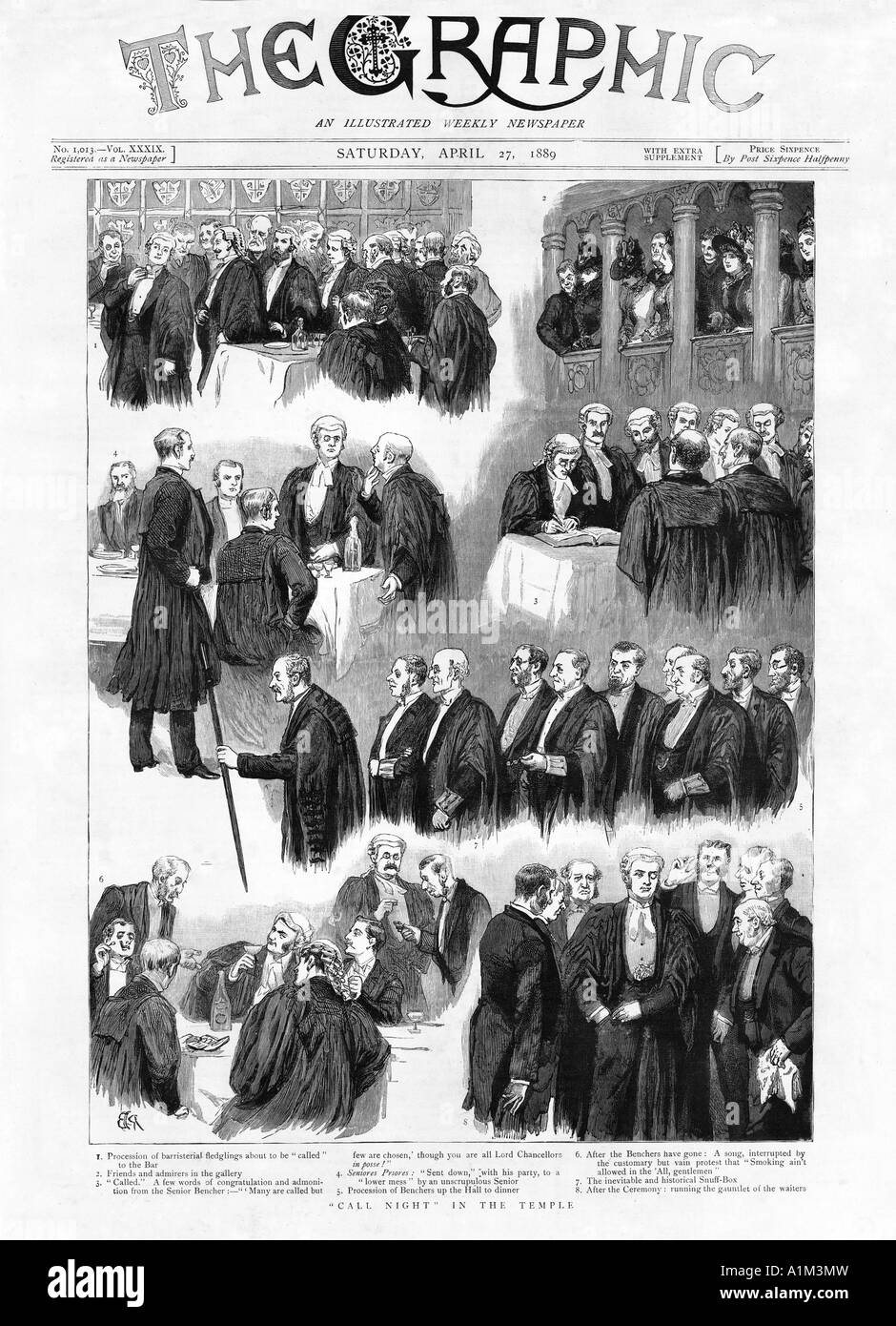 Call Night At The Temple 1889 magazine illustration of the ceremony where the barristerial fledglings called to - Stock Image