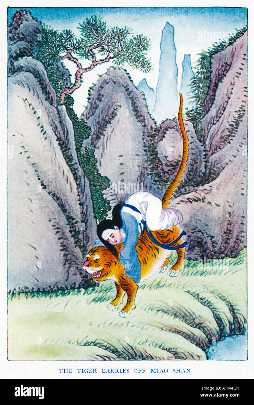 The Tiger Carries Off Miao Shan 1920s illustration by a Chinese artist from a book on Myths and Legends of China - Stock Image