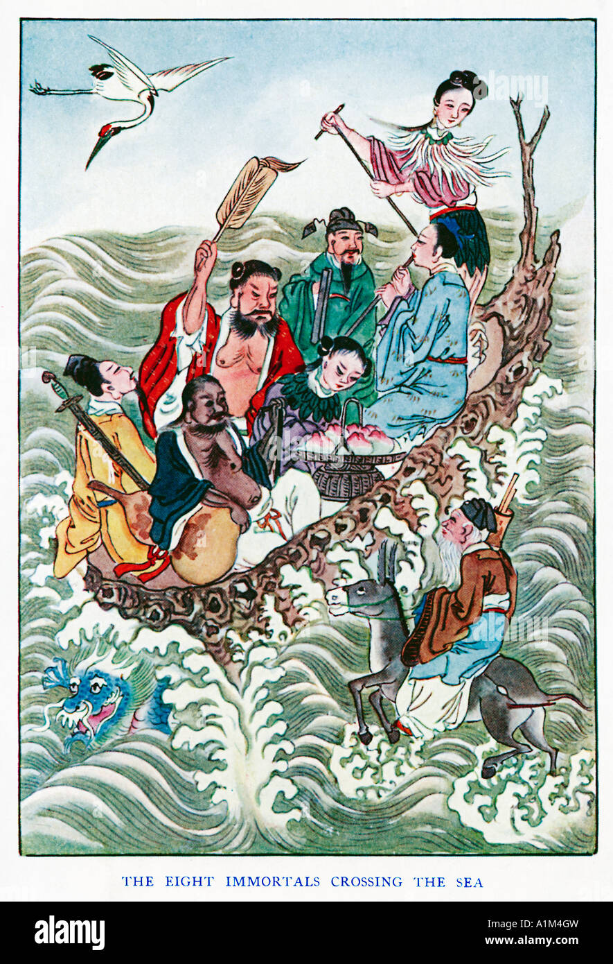 The Eight Immortals Crossing The Sea the Pa Hsien kuo hai the Taoist deities 1920s illustration by a Chinese artist - Stock Image