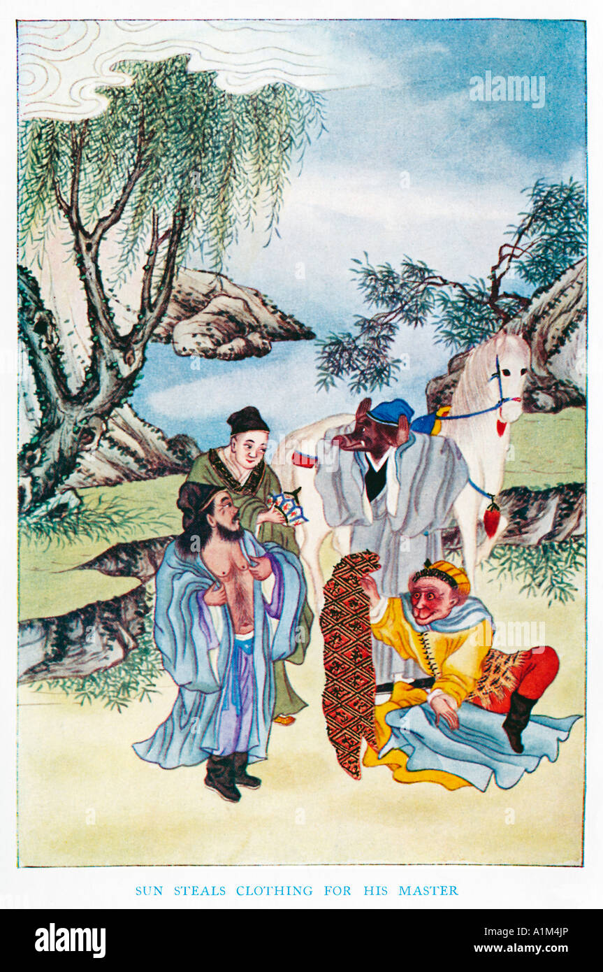Sun Steals Clothing For His Master 1920s illustration by a Chinese artist from a book on Myths and Legends of China - Stock Image