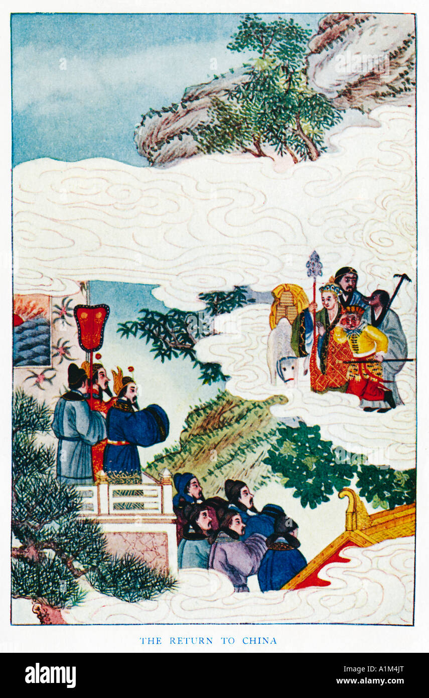 The Return To China of Sun Hou tzu 1920s illustration from a book on Myths and Legends of China - Stock Image