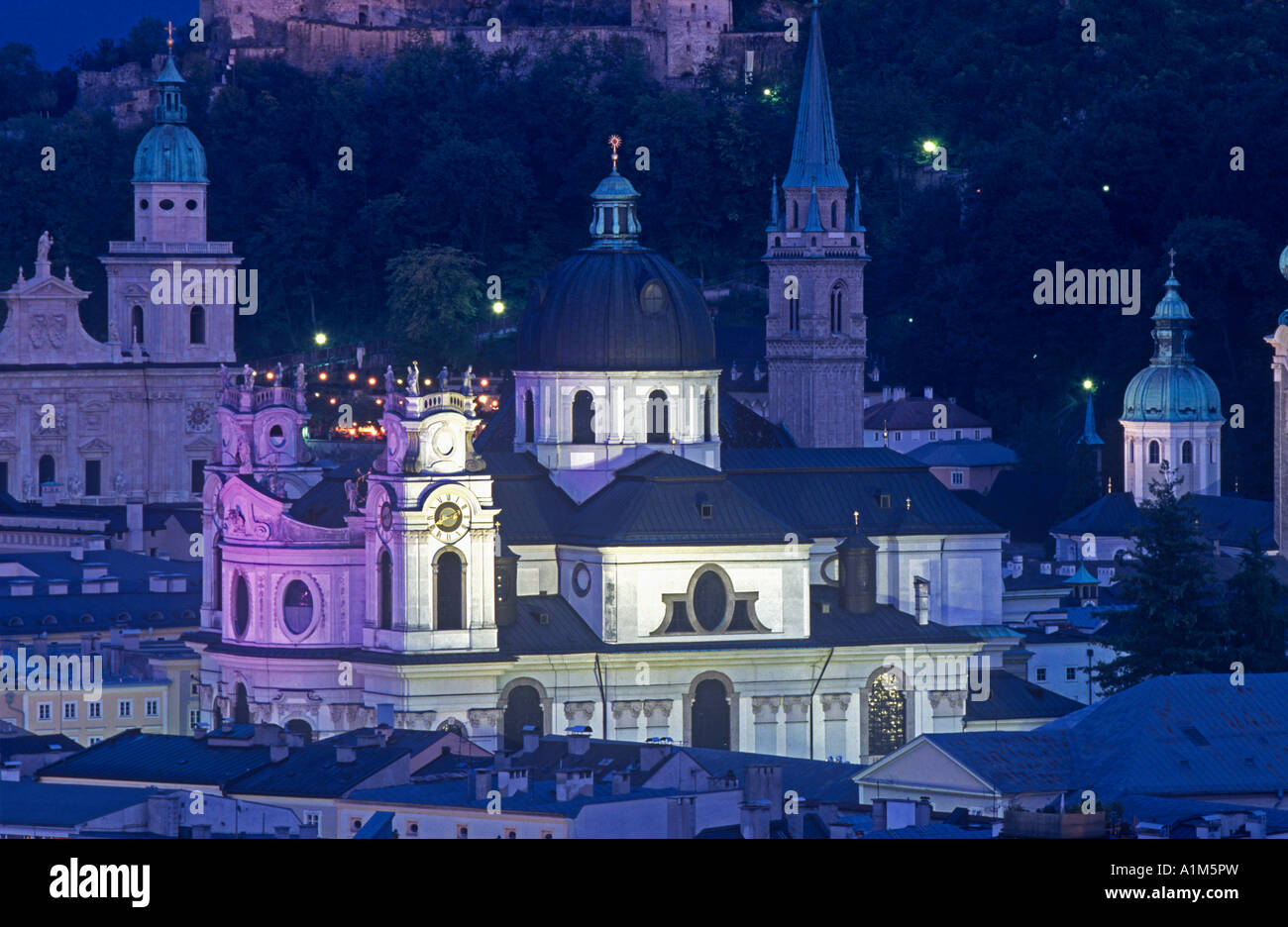 Collegiate Church, Salzburg, Austria - Stock Image