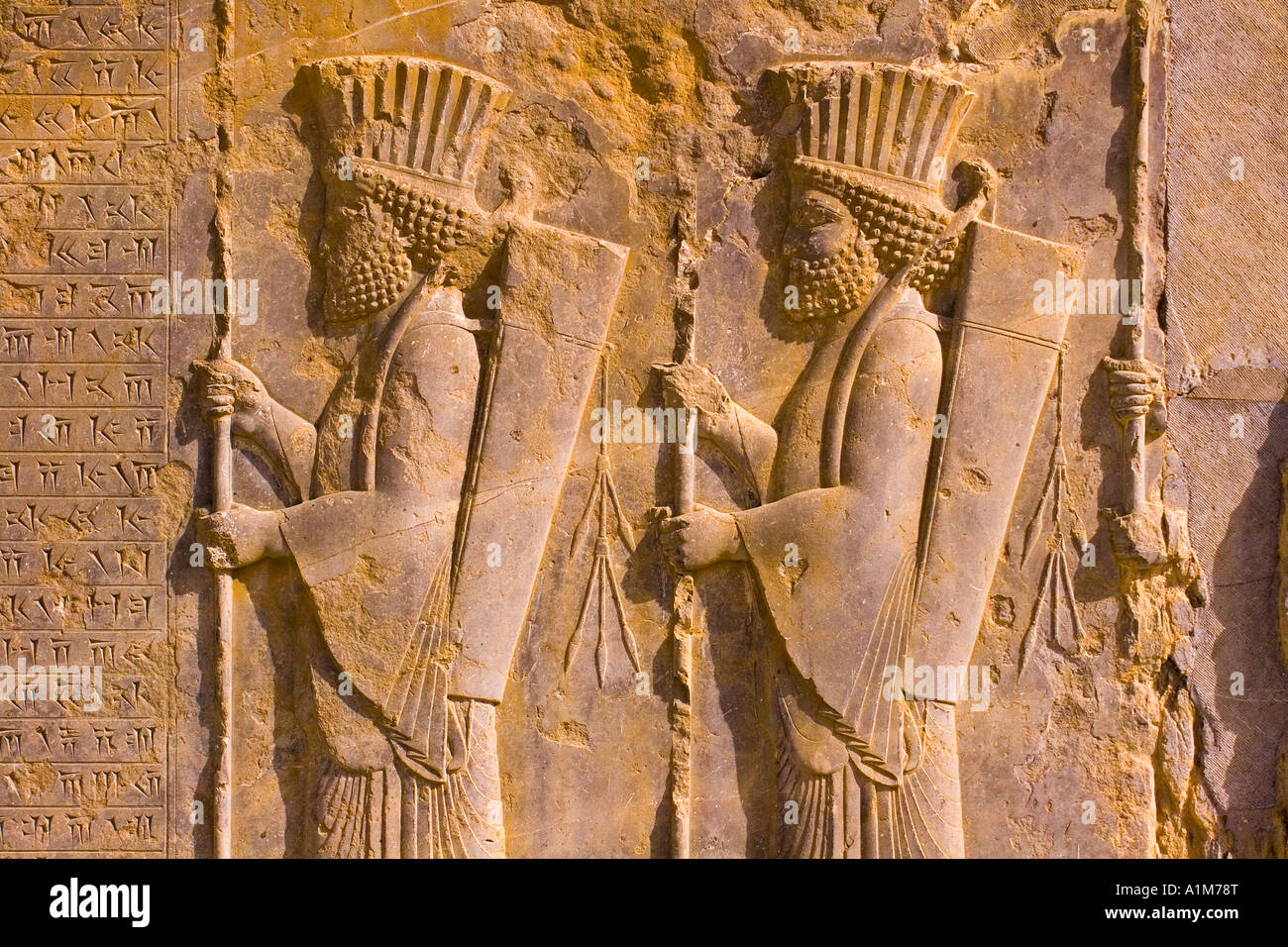 Bas reliefs, Persepolis, Fars Province, Iran - Stock Image