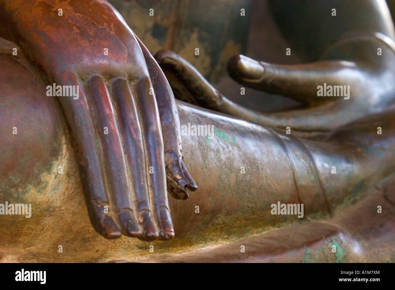 Detail of Buddha Statue, Wat Sa Si, Vientiane, Laos - Stock Image
