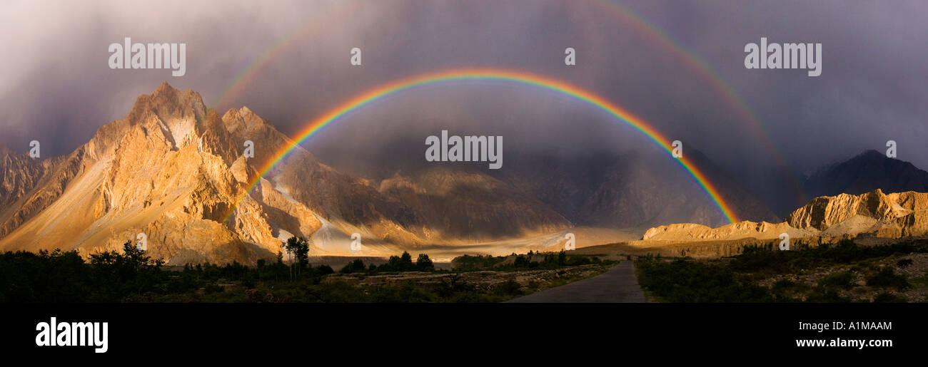 Rainbow, Passu, Khunjrab river, Northern Pakistan - Stock Image