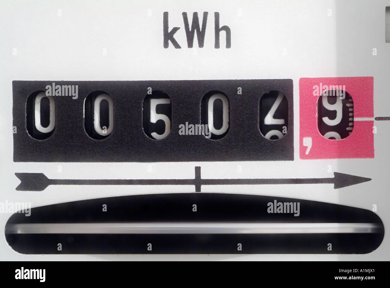 Electricity Meter Display Close Up - Stock Image