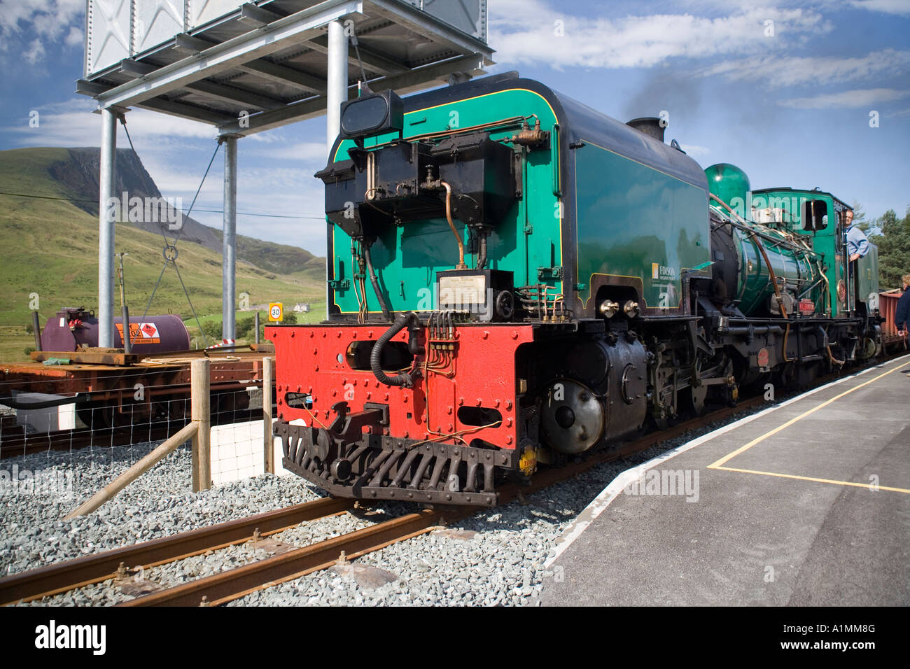 Beyer-Garratt NGG16  locomotive formerly from South Africa at Rhyd Ddu station  on the Welsh Highland Railway,Snowdonia - Stock Image
