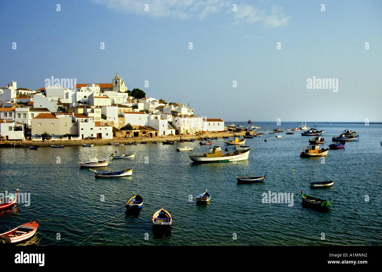 Albufeira Algarve Portugal fishing Port Albufeira - Stock Image