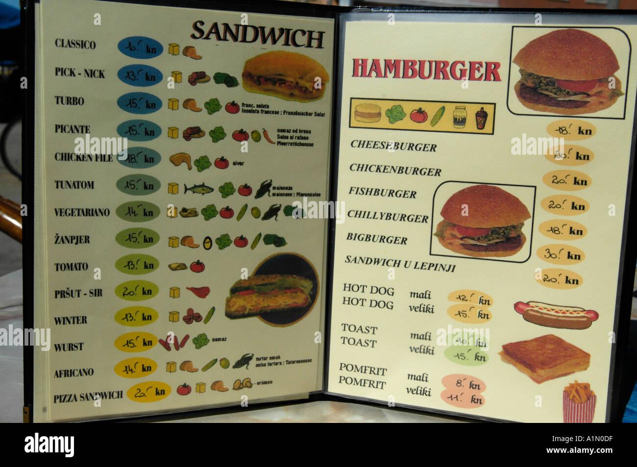 fast food menu - Stock Image