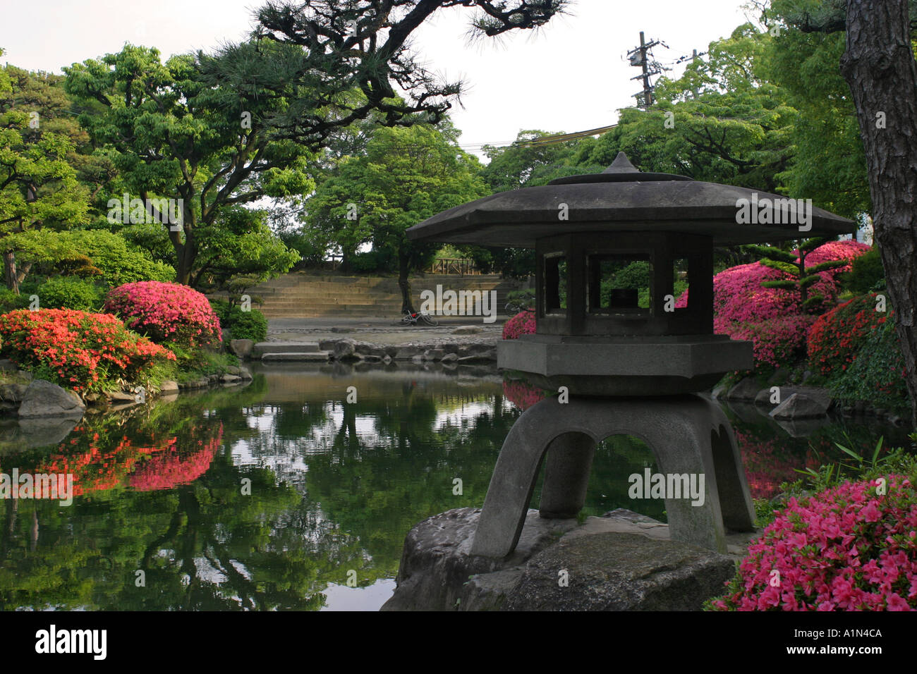 Beau Iconic Oriental Stone Lantern In A Traditional Scenic Japanese Garden With  Colourful Pink Flowers Osaka Castle Japan Asia