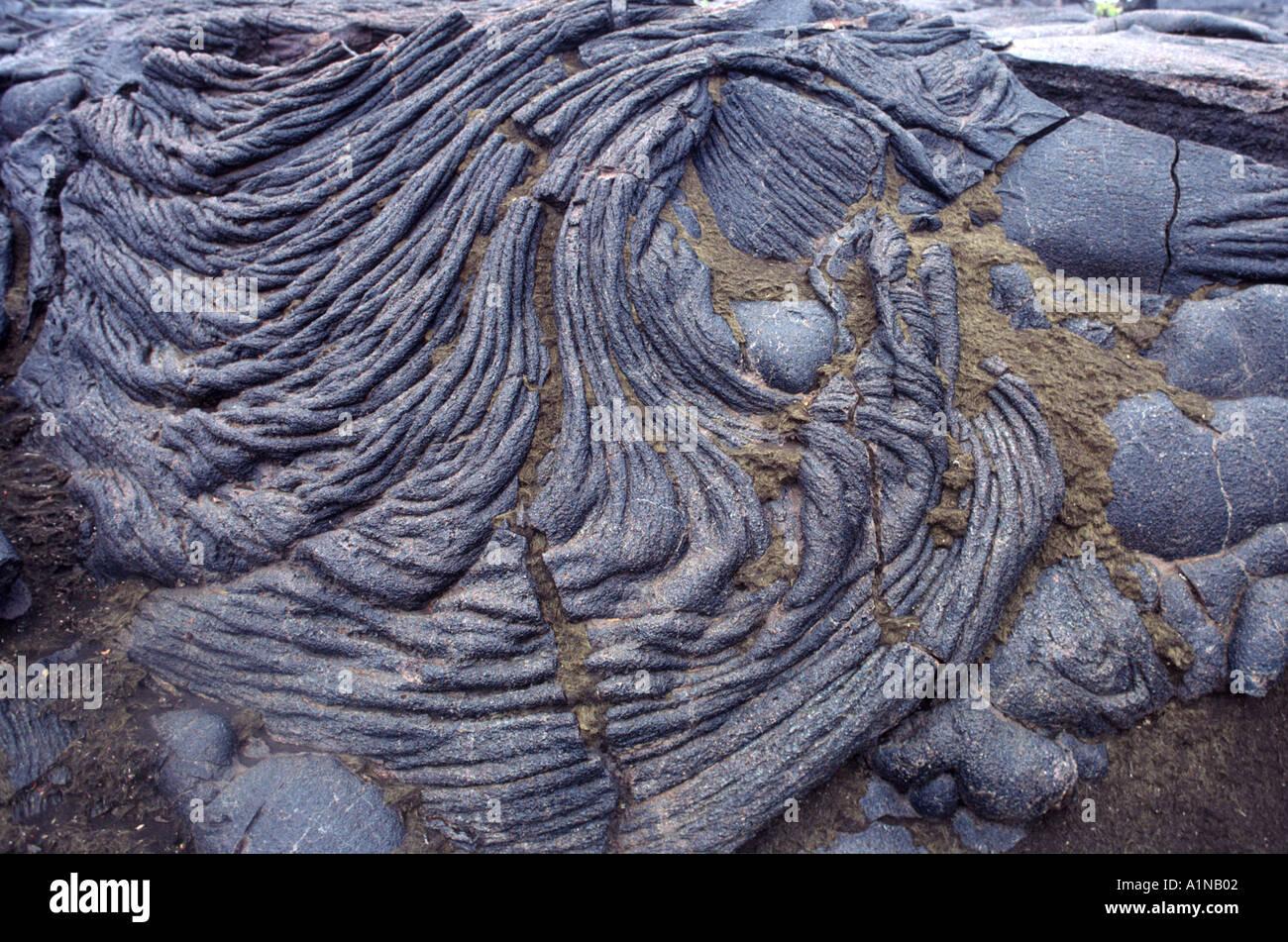 Pahoehoe basalt and Pele's hair along Mauna Iki Trail, Volcanoes National Park, Hawaii Stock Photo