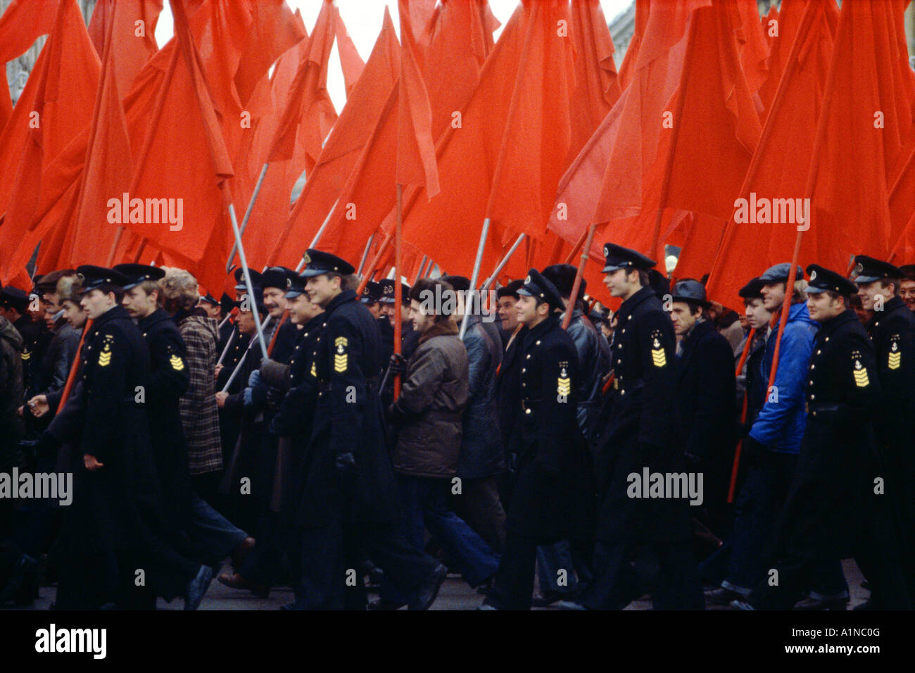 Parade celebrating the October Revolution, St Petersburg, Russia - Stock Image