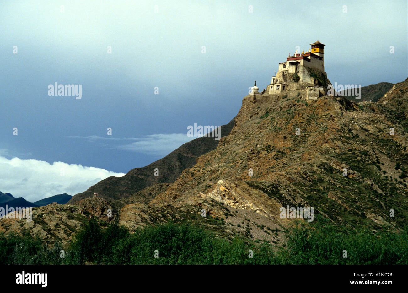 The Yambulagang the oldest wooden building in Tibet near Gyantse - Stock Image