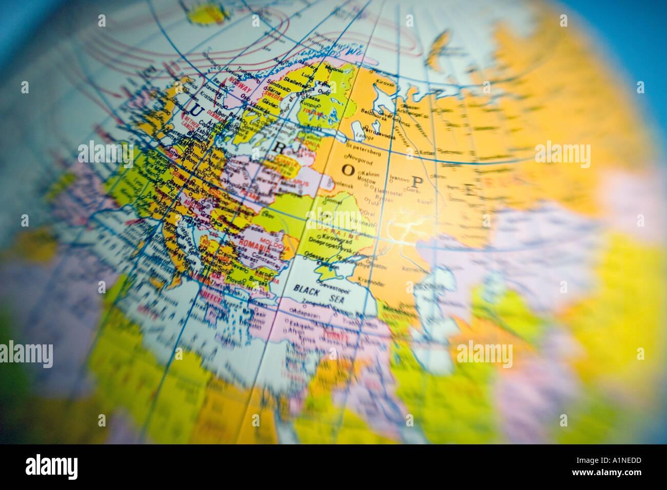 Globe Europe world globe - Stock Image
