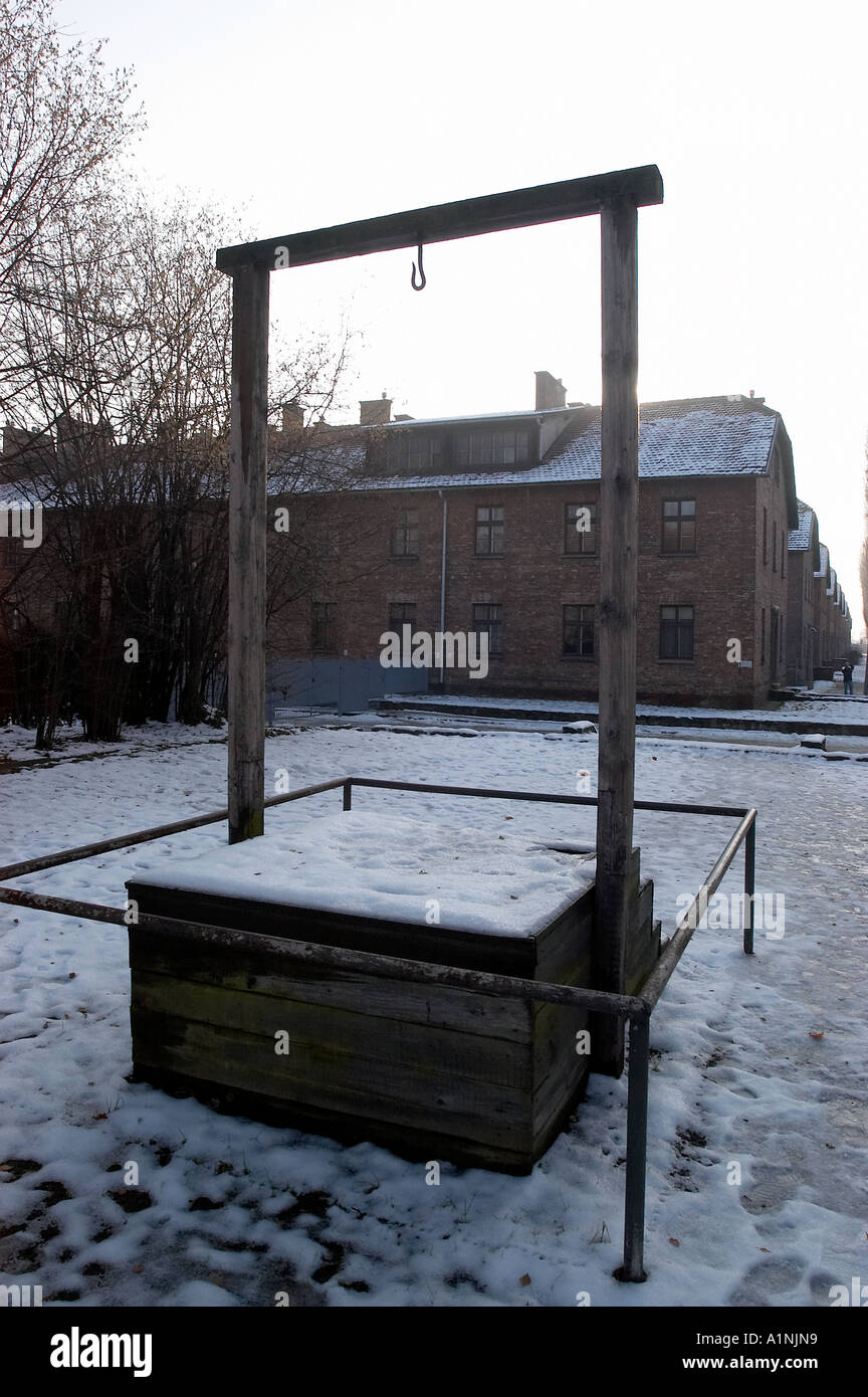 The gallows were Nazis Rudolff Hess meet his fate on the perimeter of Auschwitz Poland - Stock Image