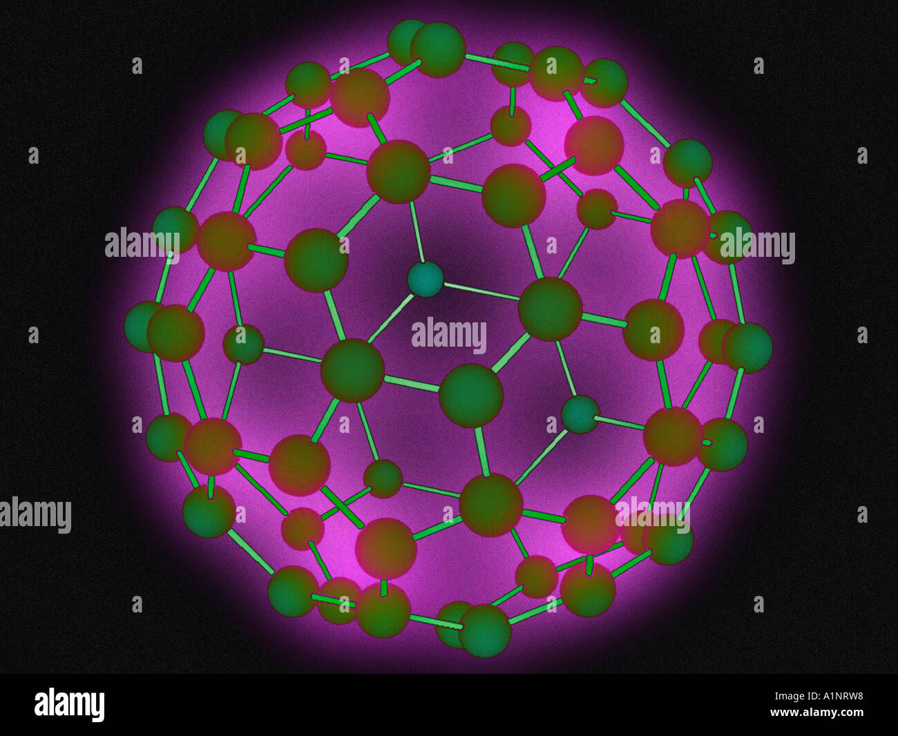 3D computer model of buckyball molecule - Stock Image