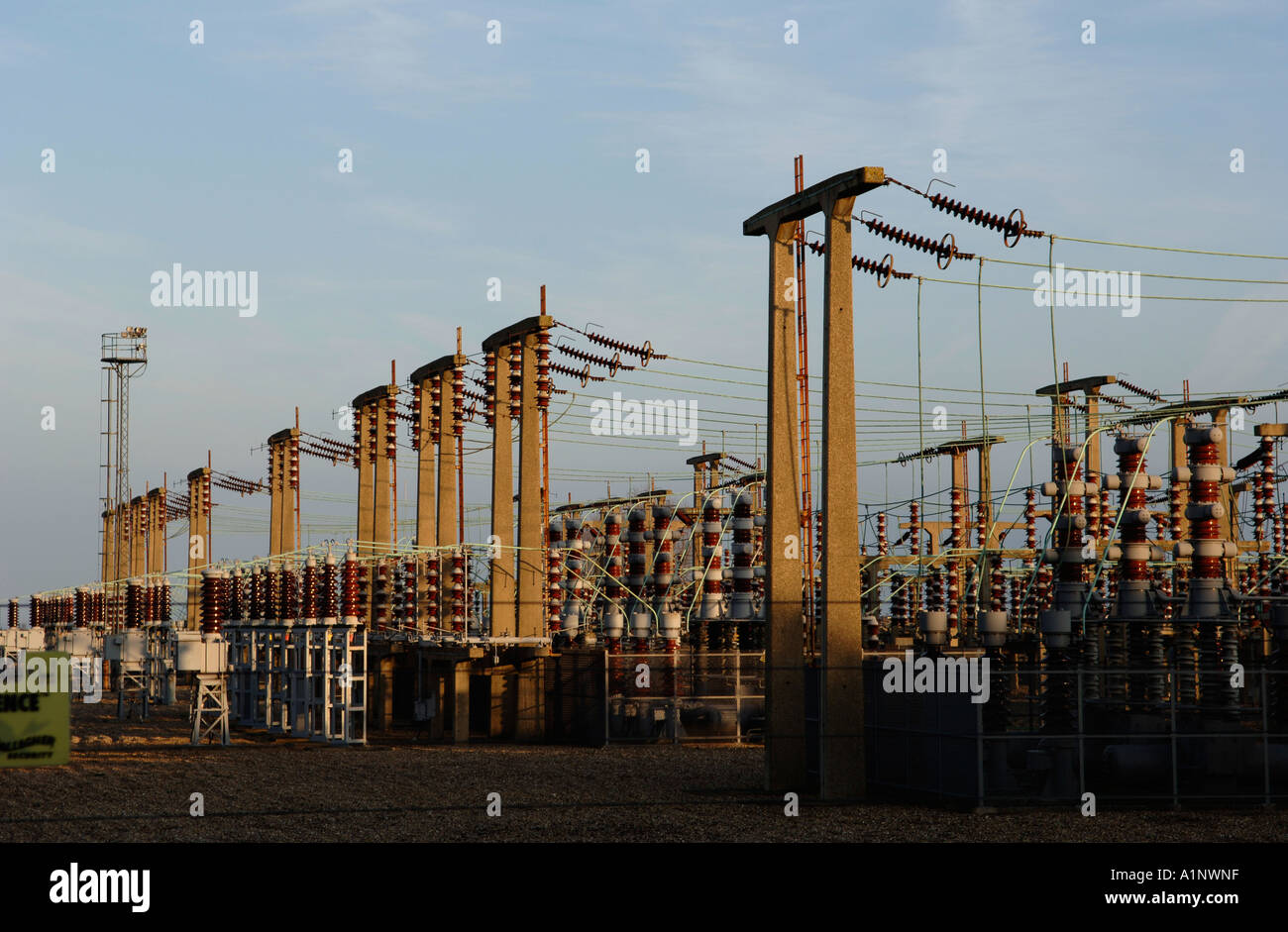 Electricity substation at Bradwell Nuclear Power Station, Essex, England, UK - Stock Image