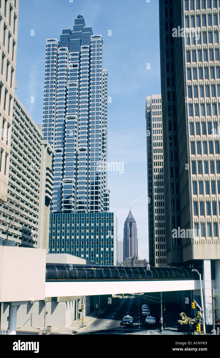 Downtown Atlanta buildings. The Peachtree Center in the city of Atlanta, Georgia, USA - Stock Image