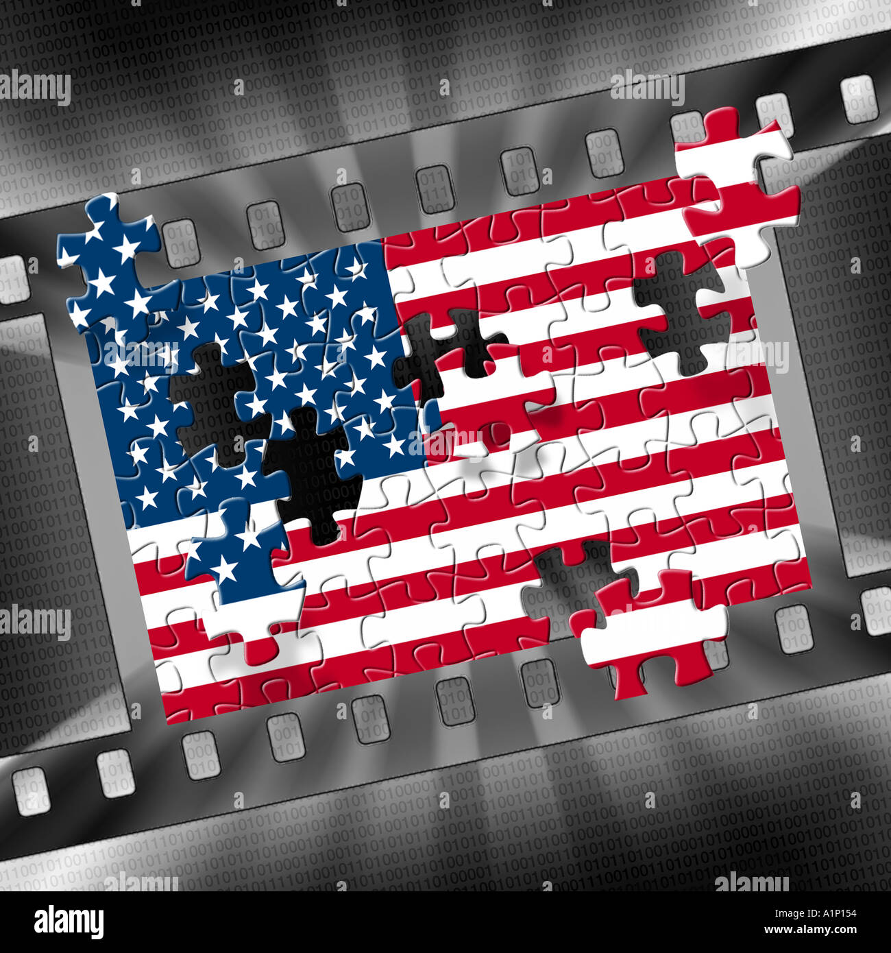 Jig saw puzzle pieces of American flag coming together in a film ...