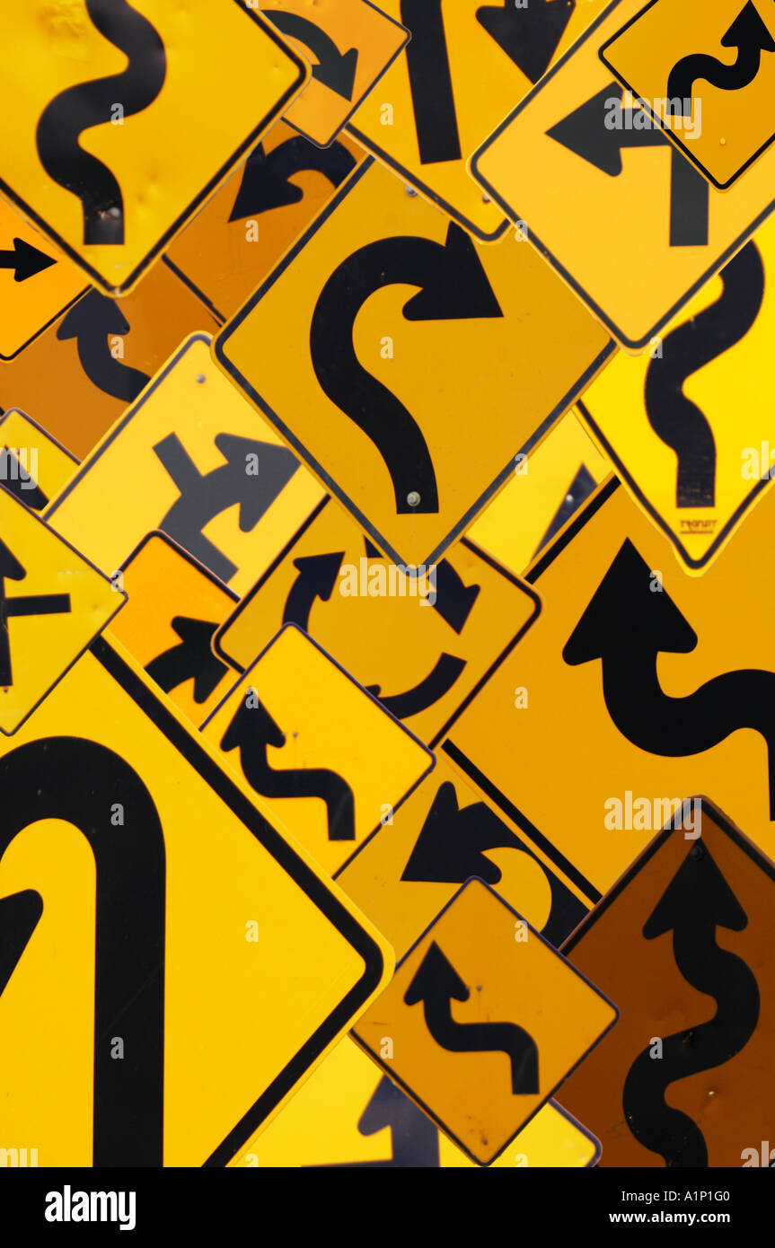 multiple road signs - Stock Image