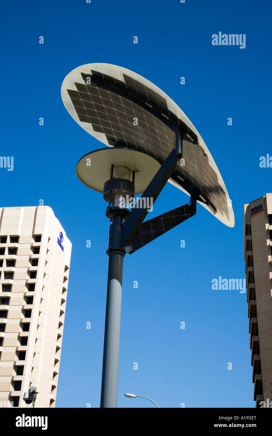 Solar Powered Street Light Victoria Square Adelaide South Australia Australia - Stock Image