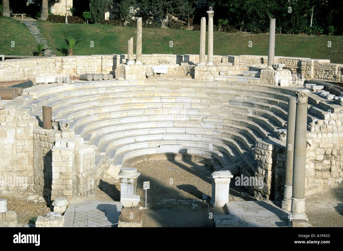 Roman Amphitheater Alexandria Egypt Stock Photo