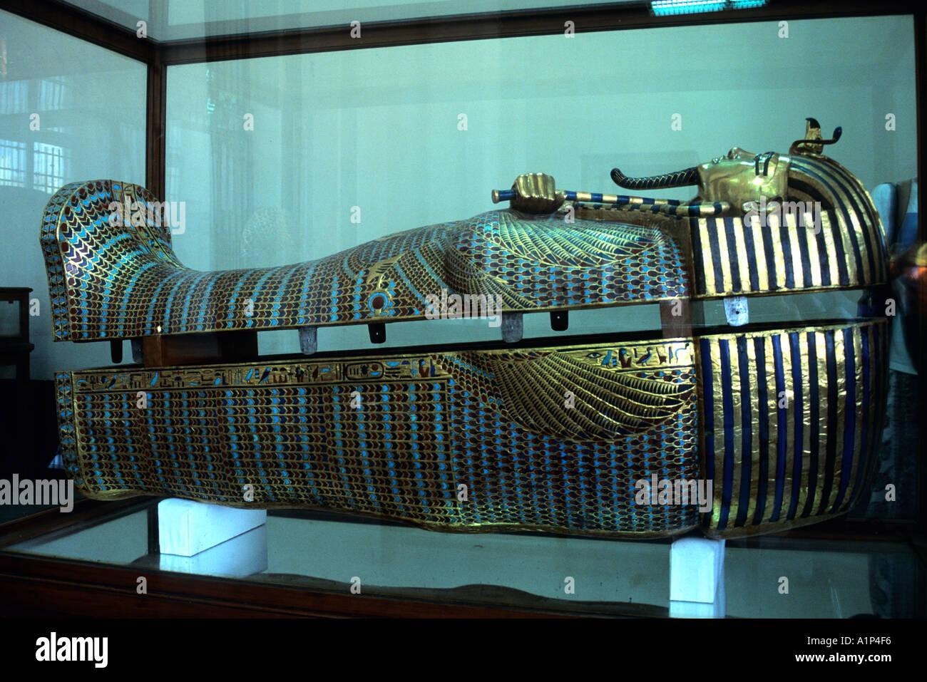 King Tut s Coffin Cairo Egypt - Stock Image