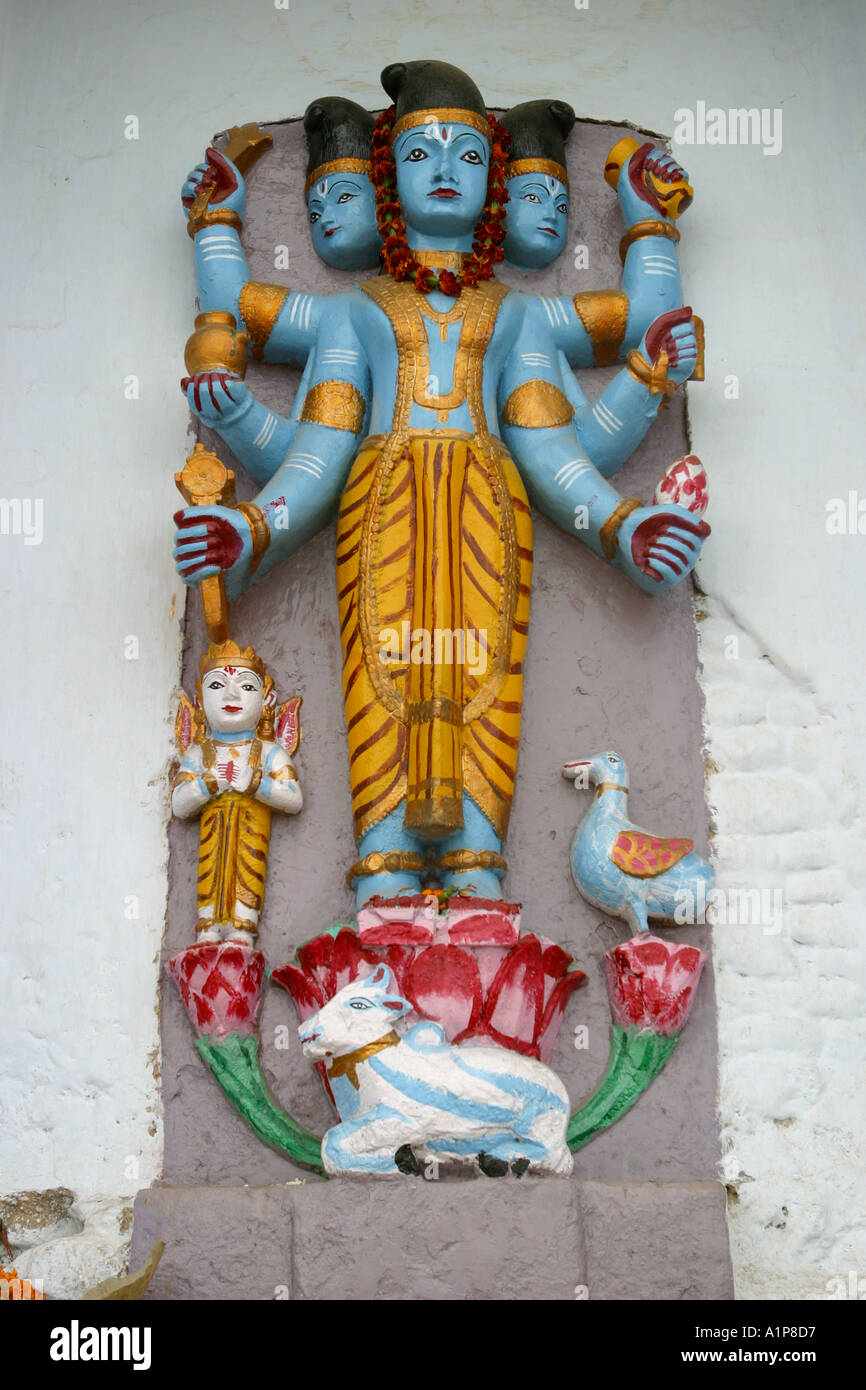 A statue depicting the Hindu god Shiva in the city of Varanasi in northern India - Stock Image