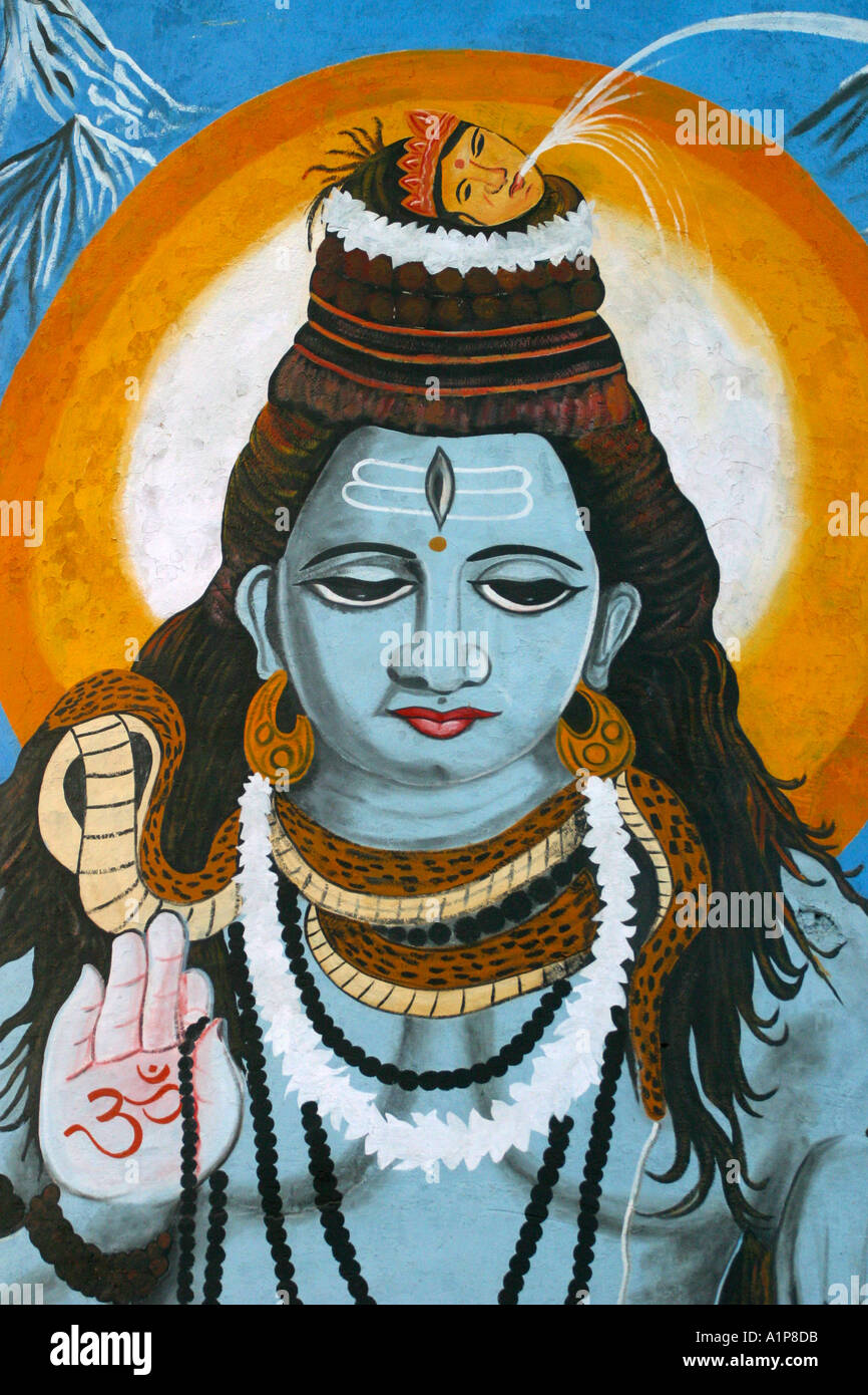 A wall painting depicting the Hindu god Shiva in Varanasi in northen India - Stock Image