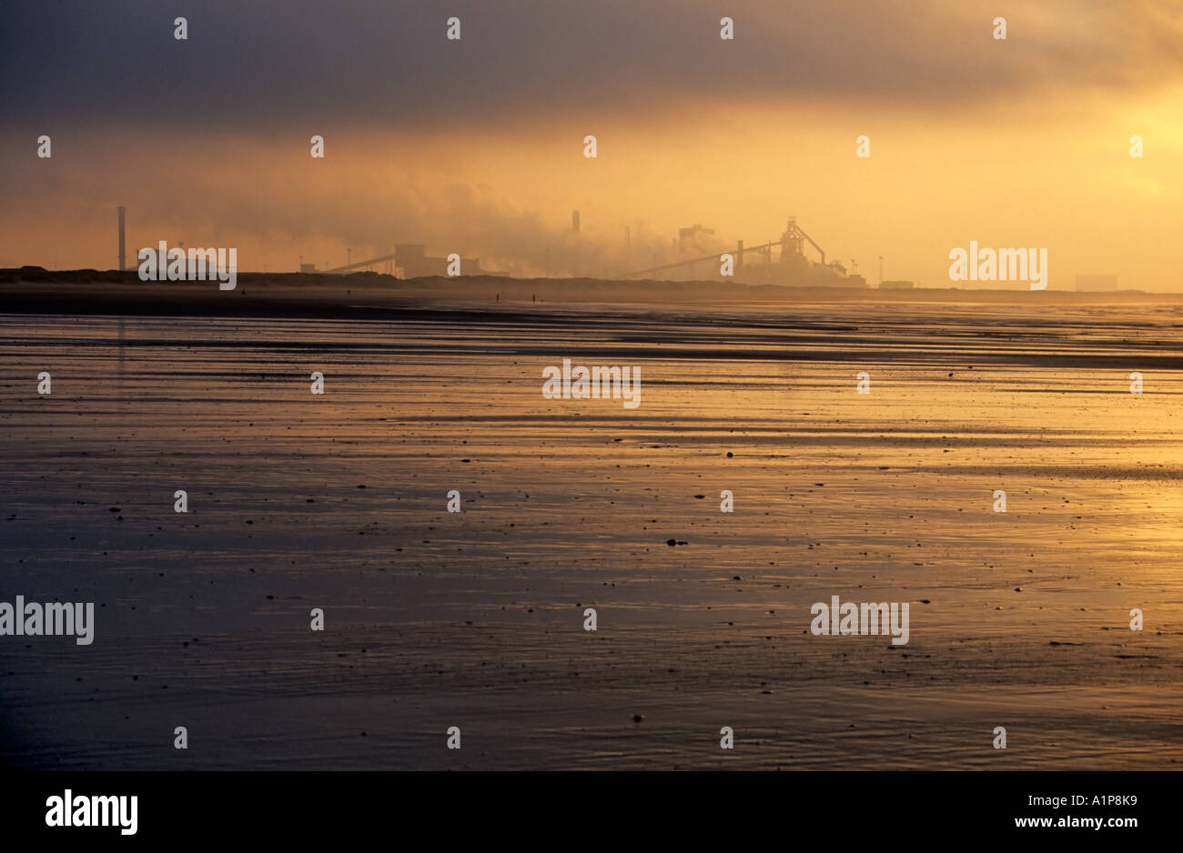 Teesside steelworks at sunset, Redcar, Cleveland, England - Stock Image