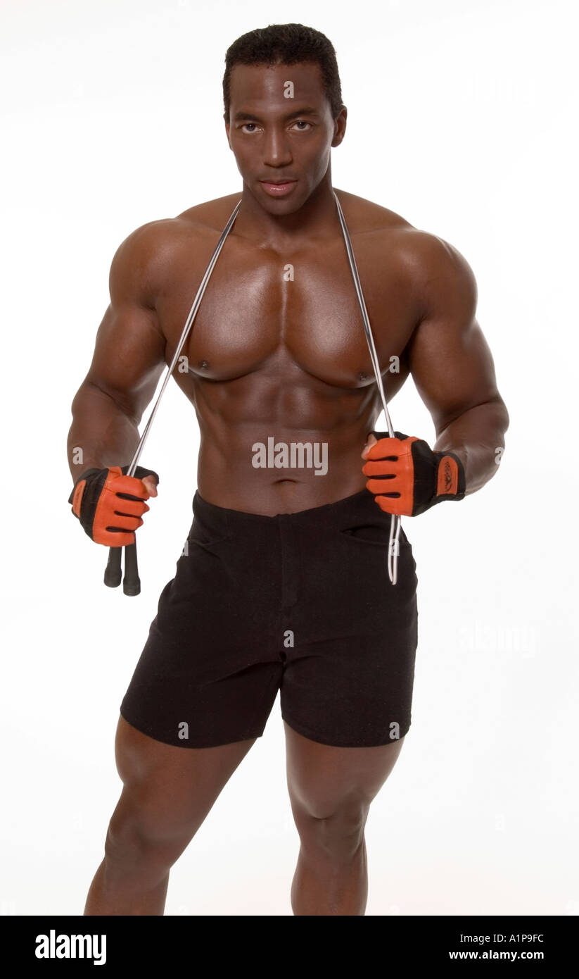 3cecd8bf70 African American Bodybuilder with Jumprope USA - Stock Image