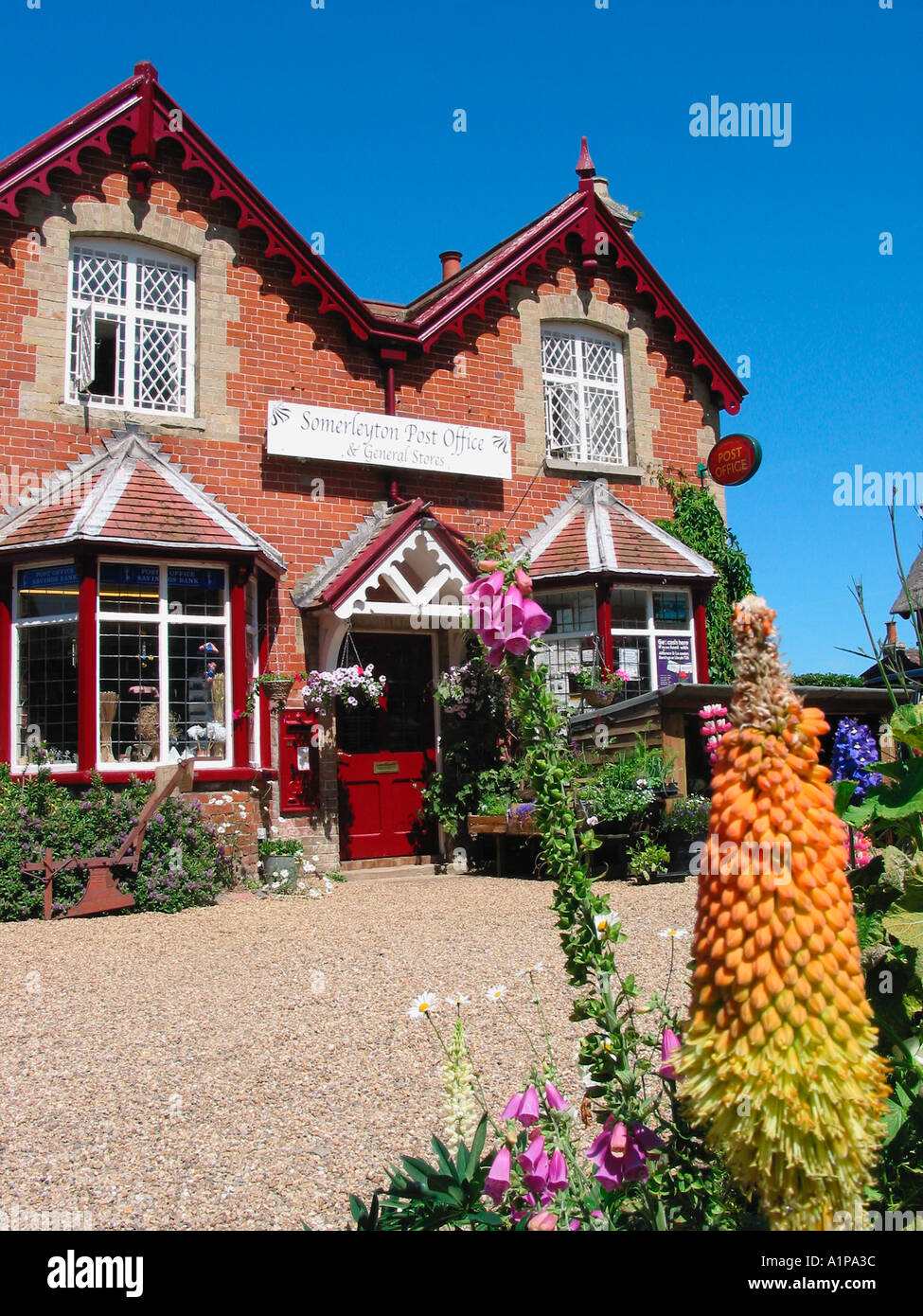 Somerleyton Village Post Office Countryside Rural Scene Stock Photo