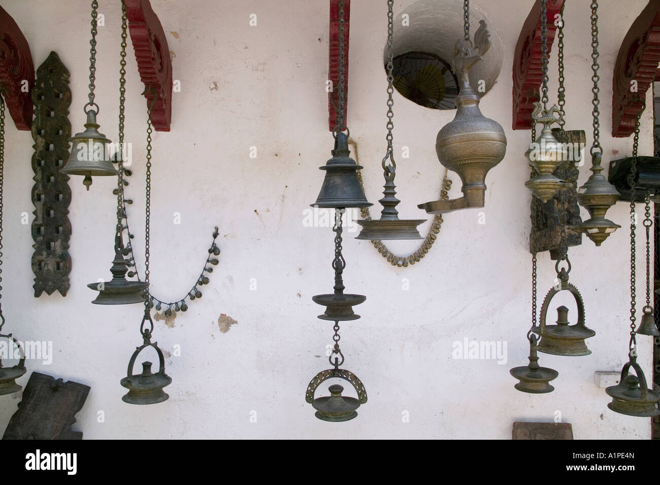 Antique Brass Bells And Other Items For Sale Near The Old Jewish Stock Photo Alamy