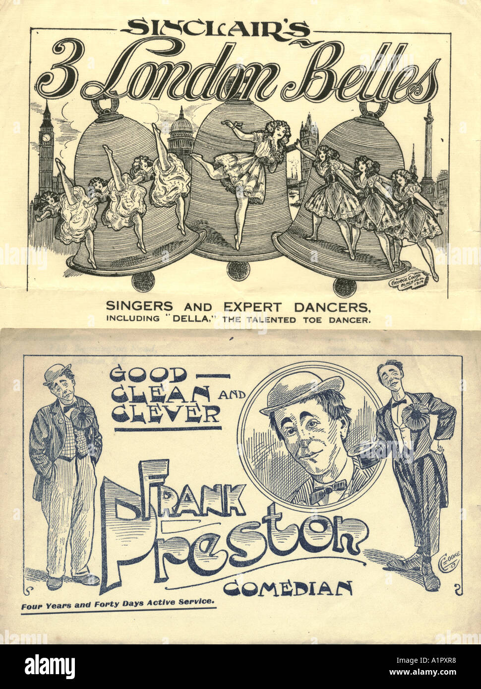 Music Hall artistes pictorial writing paper circa 1912 - Stock Image