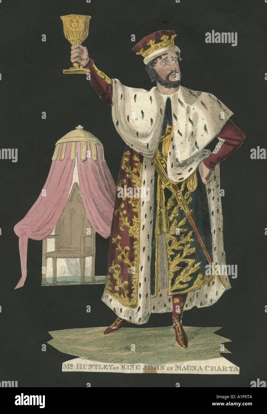 Theatrical portrait of Mr Huntley as King John in Magna Charta circa 1830 Stock Photo