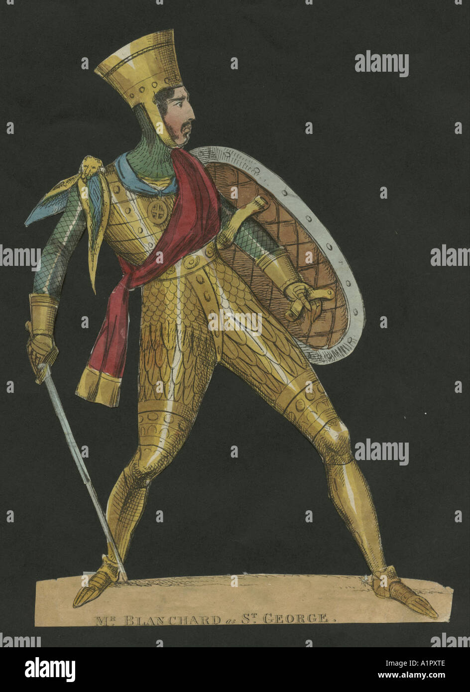 Theatrical portrait of Mr Blanchard as St. George circa 1830 - Stock Image