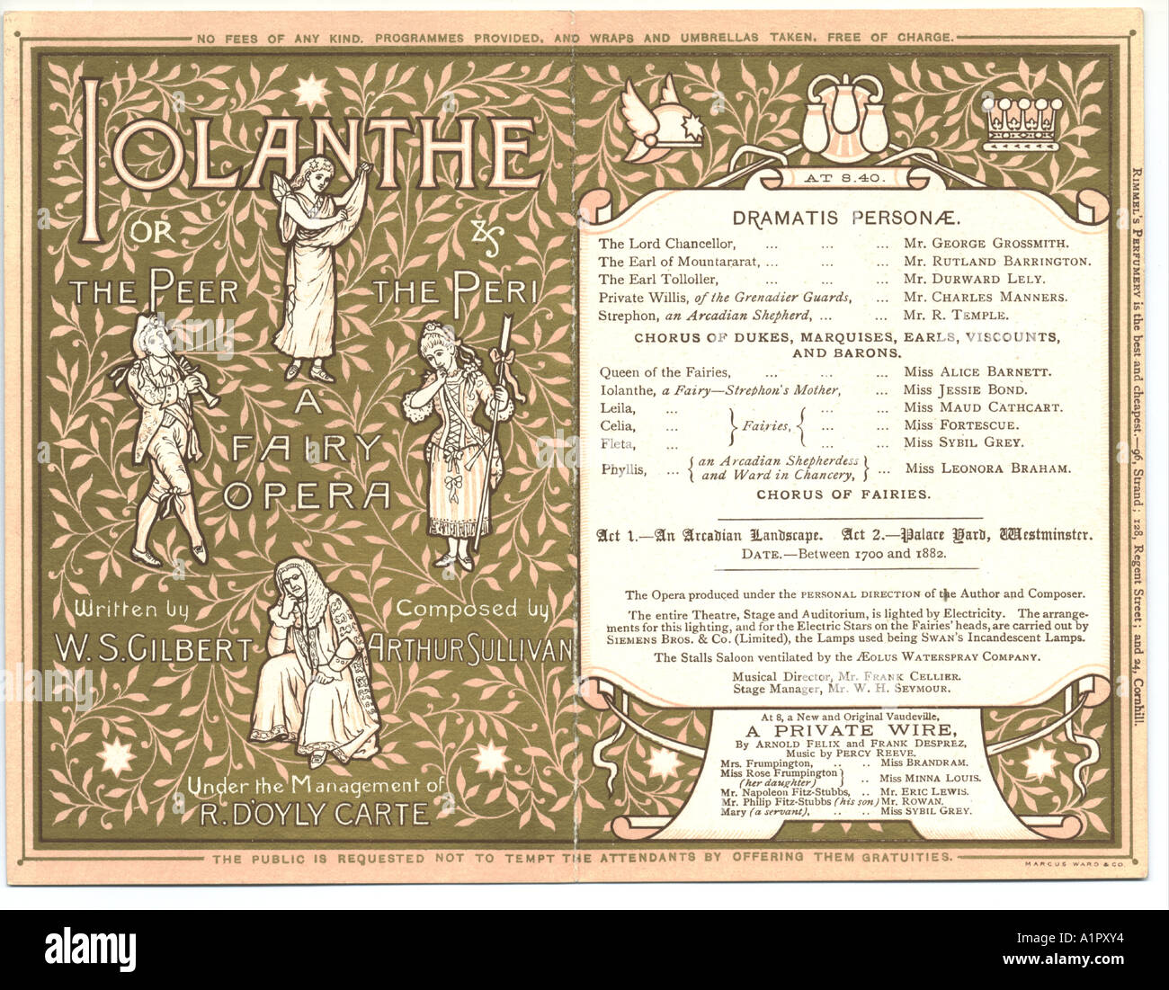Savoy theatre, London, programme, for Iolanthe, inside pages circa 1884 - Stock Image