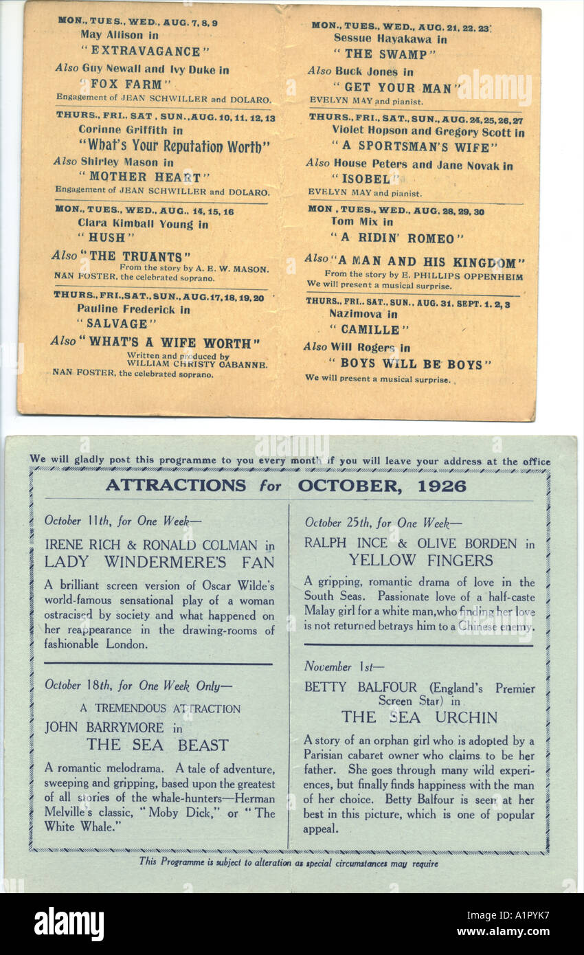 Cinema programmes, inside pages, 1922 and 1926 Stock Photo