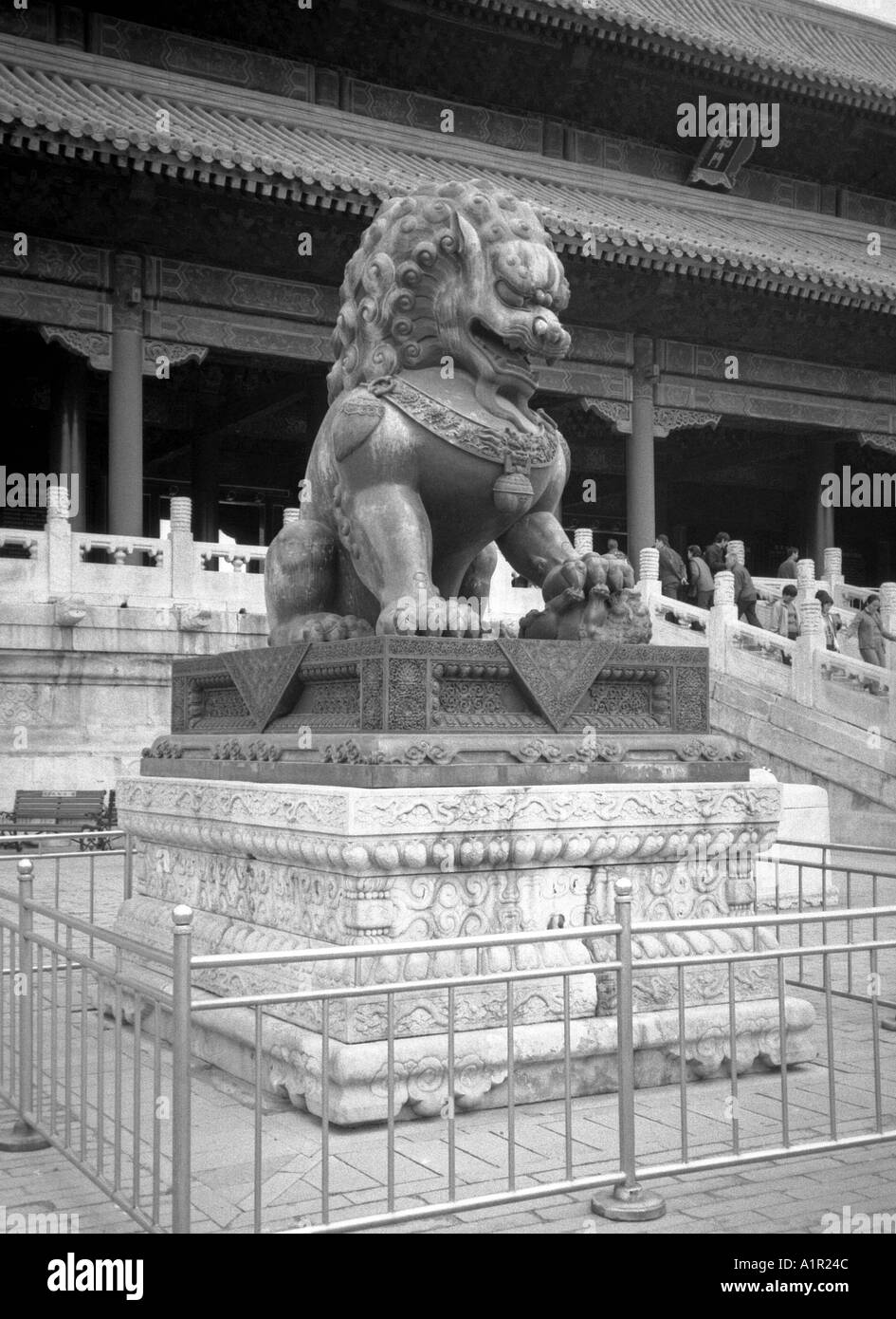 Hall of Supreme Harmony guarded by bronze lion Forbidden City UNESCO World Heritage Site Beijing Peking China Asia - Stock Image