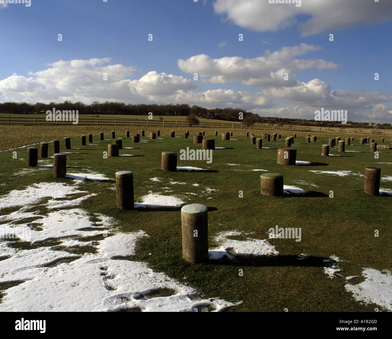 Woodhenge a neolithic monument, dating from about 2300 BC with concrete markets replacing six rings of timber posts - Stock Image