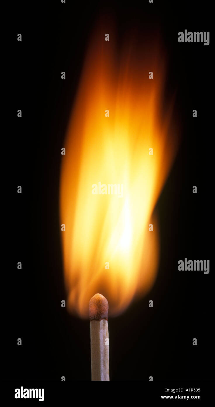 Flaming Match Burning Match - Stock Image
