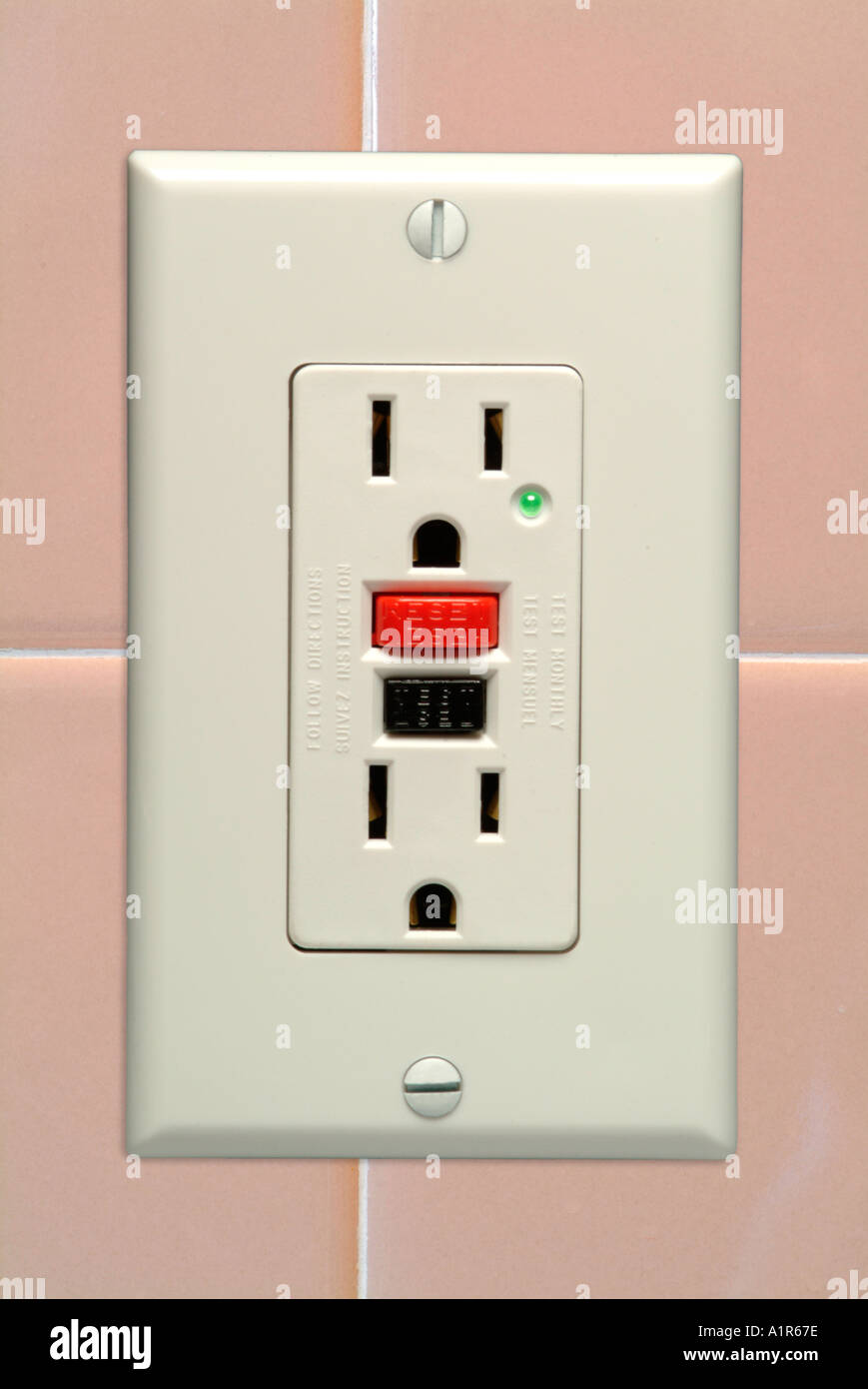 Electric Interrupter Stock Photos Circuit Interrupters A Ground Fault Or Gfci Outlet Image