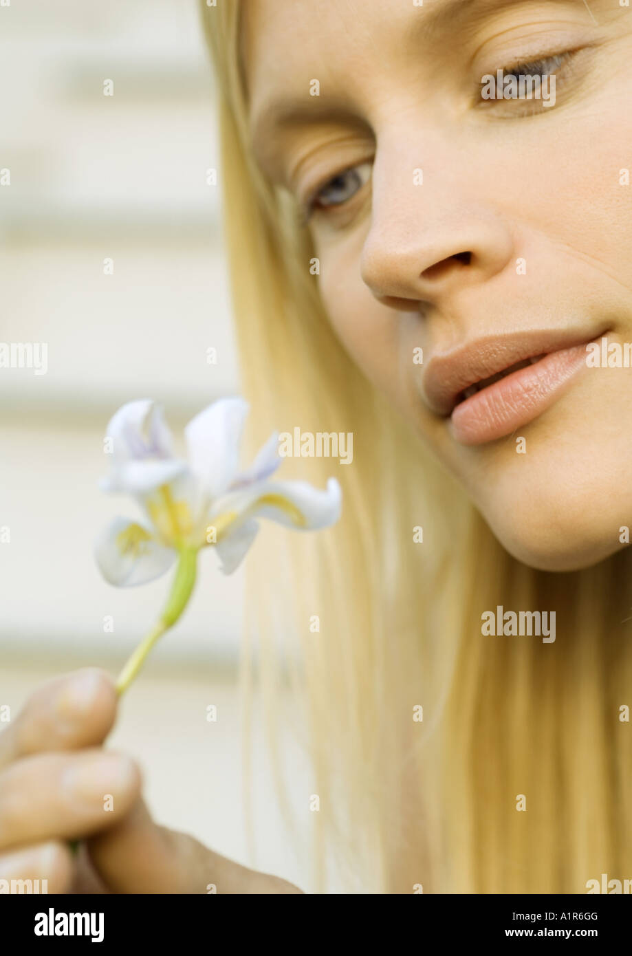 Woman looking at flower, close-up - Stock Image