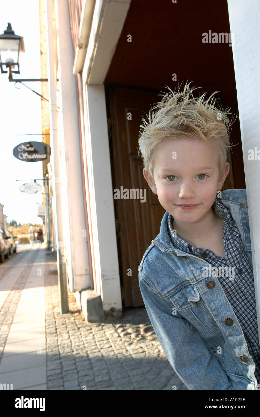 Boy in city 6 years old Nora Sweden - Stock Image