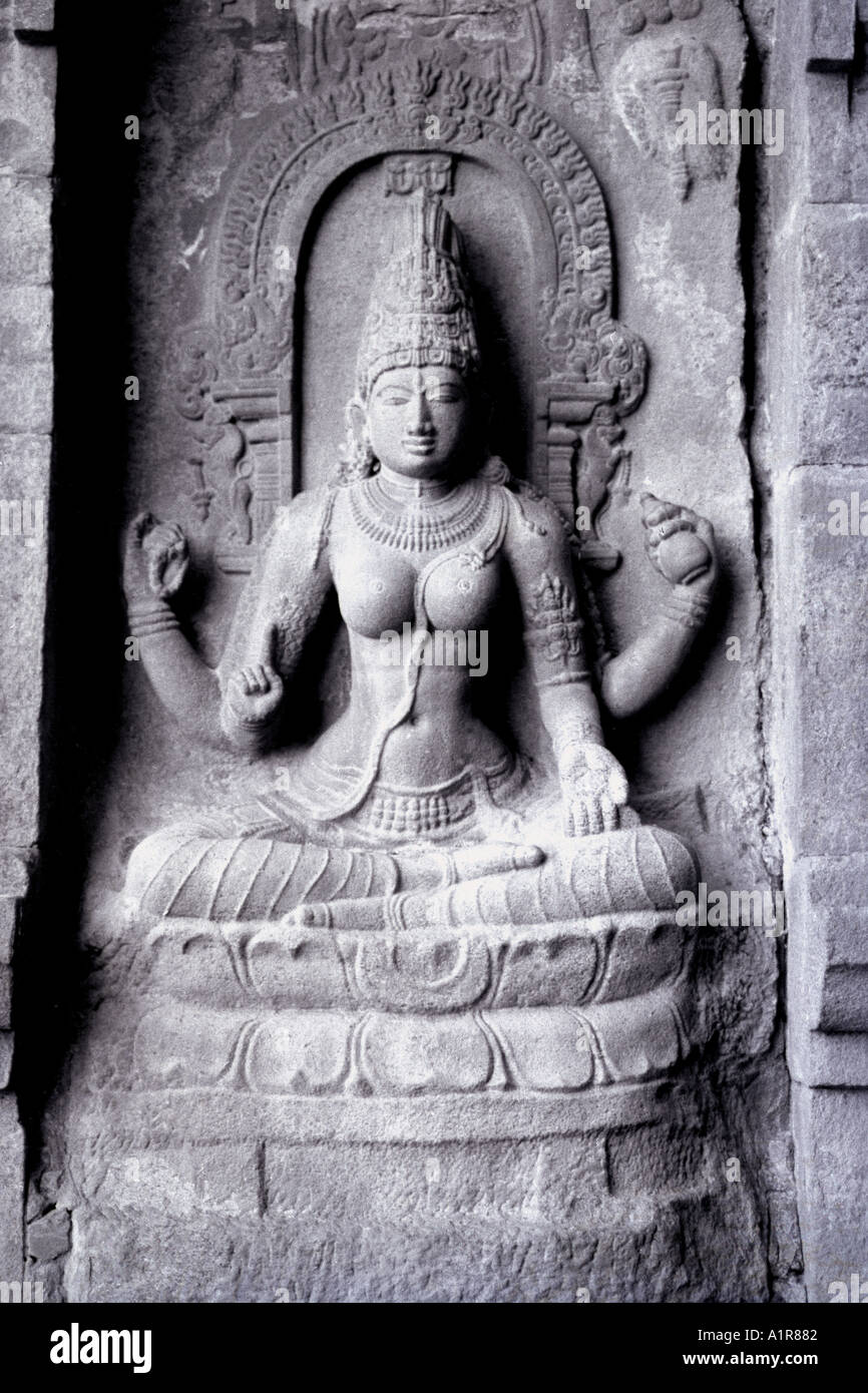 Sculpture of sitting on lotus flower Lord Shiva Gangoikonda Karnataka India - Stock Image